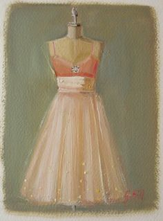 $40 The Pink Daiquiri Dress Original Oil Painting by janethillstudio