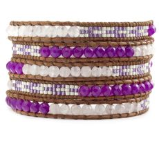 Dark Purple Beaded Mix Wrap Bracelet on Natural Brown Leather