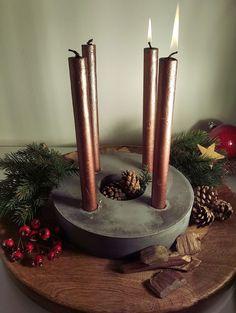 Adventkranz aus beton #Concrete #amconcretedesign #christmas #Xmas #handmade