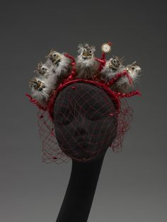 Bes-Ben 'Owls' hat | United States, 1950's | Materials: synthetic fibers, cotton, wool, feathers, plastic, metal, adhesive | Indianapolis Museum of Art