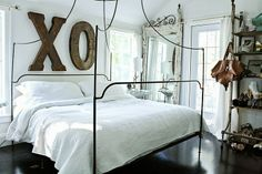 the bed. the letters.