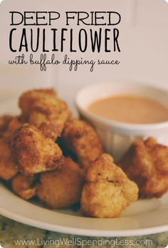 Deep Fried Cauliflowerdeep fried cauliflower with Buffalo Dipping Sauce. Crispy on the outsided, soft & slightly salty on the inside, with a kicky blue cheese buffalo sauce, these fried cauliflower snacks are such a yummy treat! Seriously to die for! Deep Fried Cauliflower, Cauliflower Bites, Cauliflower Recipes, Sauce Recipes, Cooking Recipes, Healthy Recipes, Cooking Tips, Healthy Food, Deep Fryer Recipes