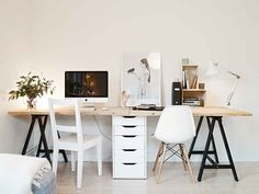 DIY Desks You Can Make In Less Than a Minute (Seriously!) To construct this tandem desk from Stadshem spotted on Coco Lapine Design, balance two wood boards on top of a combination of $15 ODDVALT trestles and one ALEX drawer unit from IKEA.