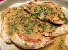 "Chicken Breasts Diane from Food.com:   Tip: You can pound chicken breasts flat and leave flattened between sheets of plastic wrap. Wrap them airtight in one package and freeze for later use.   								I have been making this for over 10 years and is the most requested recipe I have! This is everyone's favorite chicken dish I make! It's a nice change from ""ordinary"" chicken! Goes well with steamed broccoli. (Note: This is a ""Diane"" recipe, therefore has a mustard taste to it!!)"