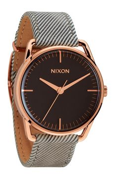 I don't usually go for leather straps, but this watch is slick. 'The Mellor' Pinstripe Leather Strap Watch - Nixon - Sale price $89.98, was $150.