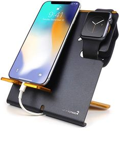 LXORY Stand and Phone Dock – 2 in 1 Duo Charging Station Compatible with All iPhone and Apple Watch Models Series – Aluminium Charger Holder Black-Orange) Charger Holder, Iphone Holder, Apple Watch Models, Series 3, Lightning, Orange, Black, Black People, Lightning Storms