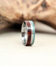 Arizona Desert Ironwood Burl and Turquoise Deconstructed Wood Ring Titanium Ring