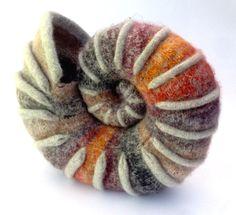 Ammonite 1 Nuno Felting, Needle Felting, Yarn Needle, Knitted Animals, Felt Animals, Fuzzy Felt, Felt Fish, Fibre And Fabric, Felt Books