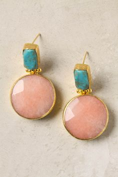 stacked stone drop earrings--love the turquoise rose and gold color combo Jewelry Box, Jewelry Accessories, Fashion Accessories, Fashion Jewelry, Jewelry Making, Fashion Earrings, Fine Jewelry, Bijoux Design, Schmuck Design