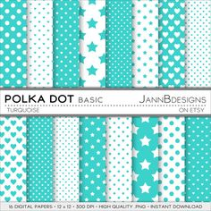 Turquoise POLKA DOT  BASIC Digital Paper Pack  by JAnnBdesigns