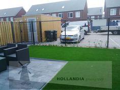 #kunstgras Royal Grass Silk35 #bestrating Metro strak Anticiet 20x30cm #aAfwatering #Hexaline goot zwart rooster #HOLLANDIAgroengroep