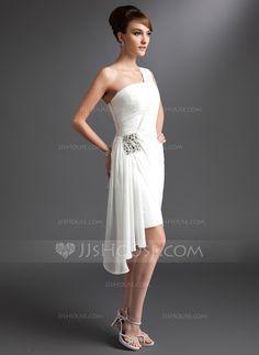 Sheath/Column One-Shoulder Asymmetrical Chiffon Cocktail Dress With Ruffle Beading (016024431) - JJsHouse