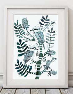 Petrol Kookaburras & Banksia Original Painting on thick textured watercolour paper. Australian Birds, Botanical, Tree, Watercolour, Jade by Floriosa on Etsy