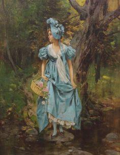 Moran, Leon (b,1864)- Woman Crossing Creek