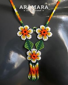 place to buy and sell everything that is handmade - Huichol Jewelry set Huichol necklace Huichol earrings Beaded Flowers Patterns, Seed Bead Patterns, Beading Patterns, Seed Bead Necklace, Beaded Earrings, Etsy Earrings, Beard Jewelry, Granny Square Crochet Pattern, Bead Art