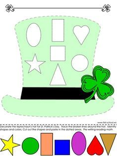 Patrick's Day Hat Colors and Shapes Preschool Lesson Plan Printable Activity … – Find Your St Patrick's Day Activities Preschool Lesson Plans, Preschool Learning, Preschool Activities, St Patricks Day Hat, St Patricks Day Crafts For Kids, March Crafts, St Patrick's Day Crafts, St Patrick Chapeau, Toddler Lesson Plans
