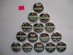 "15 ct 1"" Seattle Seahawks B buttons Pinbacks Flatbacks hairbows #Unbranded #SeattleSeahawks"