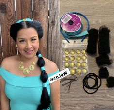 How I created my Princess Jasmine look! Section hair in the front, leaving front strands. I cut up some hair donuts for this & bobby-pined half on each side down. Then covering the donuts with my sectioned hair by bobby-pinning to the back. Jasmine And Aladdin Costume, Princess Jasmine Costume, Selena Costume, Hair Donut, Cut Up, Disney Costumes, Strands, Donuts, Bobby Pins