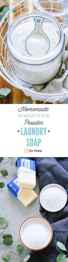 I can't believe just how easy it is to make homemade laundry soap! This recipe requires five minutes of time, and makes enough laundry soap to last about 56 loads (or more). Love this! My clothes smell great and look clean.