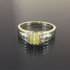14k Yellow gold Natural Chrysoberyl Cat Eye & Diamond cluster ring band .51ctw by crystalanchor on Etsy