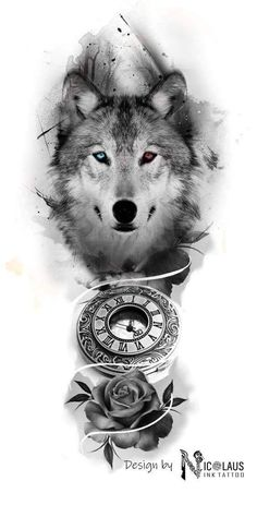Clock and Wolf - Tattoo Idea - - Clock and Wolf - Tattoo Idea –. - Clock and wolf – tattoo idea – – clock and wolf – tattoo idea – - Wolf Tattoo Shoulder, Wolf Tattoo Forearm, Forearm Sleeve Tattoos, Hand Tattoos, Tattoo Wolf, Tiger Tattoo Sleeve, Lion Tattoo Sleeves, Wolf Tattoo Design, Wolf Girl Tattoos
