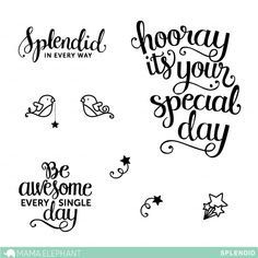 """Splendid is our second sentiment set with beautiful hand lettering by Pauline Ibarra. This set is a great addition to """"Make A Wish"""" for that special occasion! 4"""
