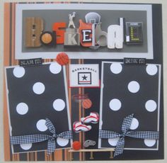TWO 12X12 premade BASKETBALL scrapbook pages