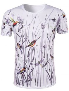 GET $50 NOW | Join RoseGal: Get YOUR $50 NOW!http://www.rosegal.com/mens-t-shirts/hot-sale-3d-bird-and-flower-printed-round-neck-short-sleeve-t-shirt-for-men-518095.html?seid=7640221rg518095