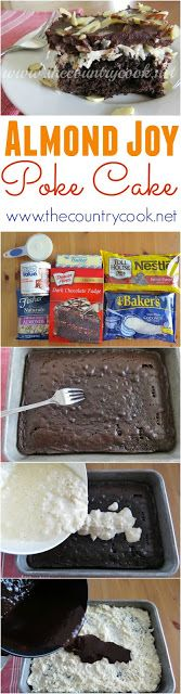 Almond Joy Poke Cake recipe from The Country Cook. It's like the candy bar in cake form. So good!! Plus, I love how easy it is since it starts with a cake mix.