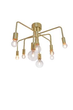 """Højde: 38 cm, Ø: 63 cm. 4x E14 lille sokkel, 4xE27 stor sokkel. Maks. 30W. Design: Katarina Dahl.<br><br><br>OBS! Nogle loftlamper/pendler leveres med svensk """"loftstik""""som ikke kan benyttes i Danmark. Stikket klippes af og ledningen tilsluttes direkte i roset (lampeudtag) eller monteres med lampestikprop. Alle vores lamper er CE-godkendte.<br>"""