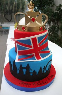 Birthday Party England Queen Union Jack Flag cupcakes cakes cake cake ...