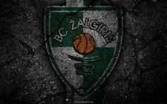 Descargar fondos de pantalla Kauno Zalgiris, el logotipo, el arte, un Lyga, Lituania, fútbol, club de fútbol, el FC Kauno Zalgiris, asfalto, la textura, el Zalgiris