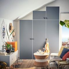 PLATSA is a new flexible and affordable storage solution from IKEA, designed for small spaces and easy to customise and adapt for any room. Grey Cupboards, Recycled Door, Affordable Storage, Frame Shelf, Best Home Interior Design, Colourful Living Room, Clothes Rail, Knobs And Handles, Interior Accessories