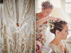 Edwardian lace Jane Bourvis wedding dress, castle wedding