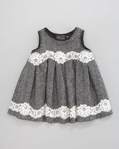 Herringbone Lace-Trim Dress - Neiman Marcus
