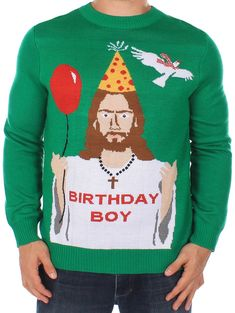 Happy Birthday Jesus Sweater I can't tell whether this is awful or not hahahaha