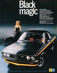 Werbung für den Opel Manta Black Magic im Jahr 1974