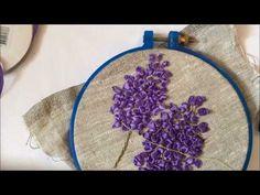Сирень вышитая лентами (вышиваем каждый цветок отдельно) - YouTube