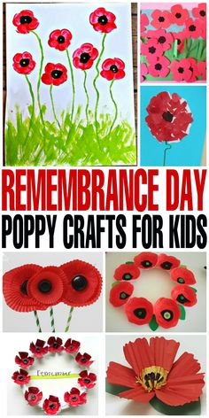 Remembrance Day Poppy Crafts for Kids - Frugal Mom Eh! - - Teach your kids the importance of honouring and thanking the Canadian men and women for their sacrifices with these Remembrance Day Poppy Crafts for kids. Remembrance Day Activities, Veterans Day Activities, Remembrance Day Poppy, Elderly Activities, Kid Activities, Poppy Craft For Kids, Art For Kids, Crafts For Kids, Wreath Crafts