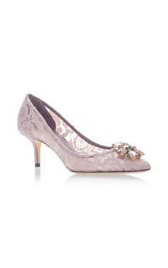 Crystal-Embellished Lace Pumps by Dolce & Gabbana Lace Pumps, Designer Pumps, Lace Making, Court Shoes, Designing Women, Kitten Heels, High Heels, Feminine, How To Wear