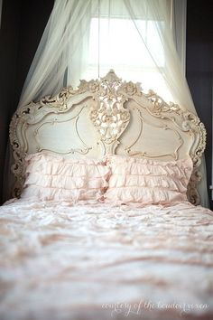 THE HEADBOARD HAS AN ORNATE STYLE THAT FRENCH DECOR IS KNOWN FOR!!! 'Cherie