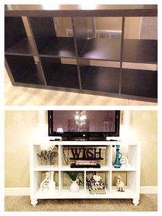 DIY IKEA bookshelf to TV stand!