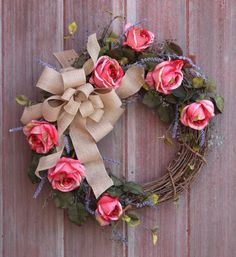 Spring Wreath Grapevine Wreath Rose Wreath Pink by HilltopRustics