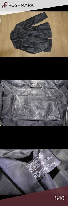 Genuine Leather Jacket Size Large. Women's (I believe, could be a men's or unisex). Brand is Jacqueline Ferrar. 100% genuine leather. Some wear is shown in pictures to zipper and arms of jacket. Good condition overall. Jacqueline Ferrar Jackets & Coats