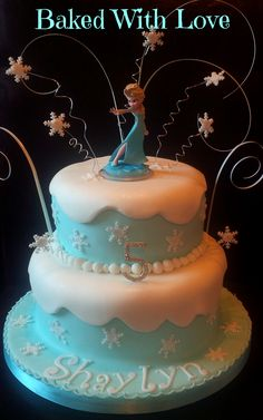 Disney Frozen Birthday Cake ~ Don't forget purple and blue snowflake…
