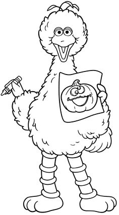 Halloween Coloring Pages | Halloween Big Bird from Sesame Street Coloring Book Printable Page