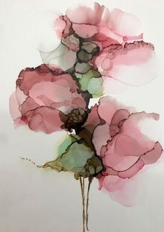 """Misty Rose"" Alcohol ink on yupo by Gloria Gelo"