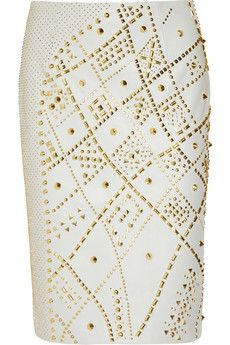 Versace - studded leather pencil skirt...now to go out to my money tree & pluck $4,675 off of it ;o)