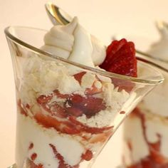 Summer in a glass! This delicious dessert deserves all the glam and glitz you can give it. It is also known as Eton Mess Delicious Desserts, Dessert Recipes, Eton Mess, Strawberry Desserts, Recipe Search, Meringue, Easy Meals, Easy Recipes, Allrecipes
