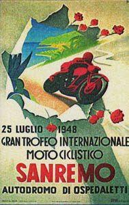 Gran Trofeo Internazionale Motociclismo Sanremo (Autodromo di Ospedaletti) - 25/7/1948 . Vintage travel poster #liguria #riviera www.varaldocosmetica.it